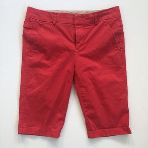 Vince Coral/Tomato Red Side Buckle Bermuda Shorts